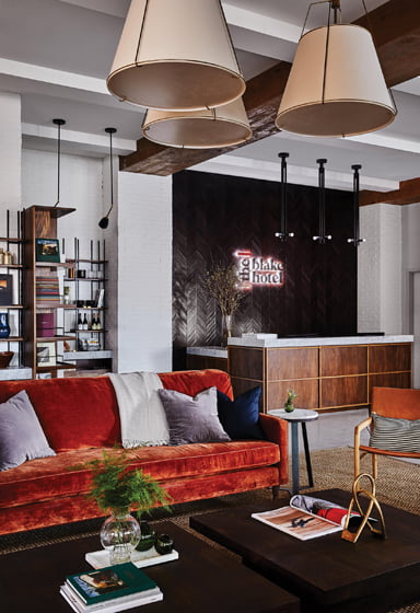 PUBLIC LIVING: HVS Design, Christine Shanahan, ASID; The Blake Hotel.© Read McKendree and Whitney Cox.