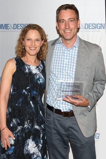 Editor in chief Sharon Jaffe Dan, awardee Kevin Campion.