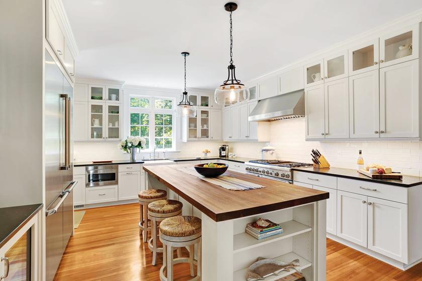 Justin Cunningham of Stuart Kitchens helped define the kitchen's farmhouse details.