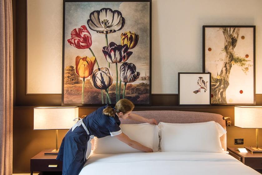 A guest room showcases Robert John Thornton's botanical prints.