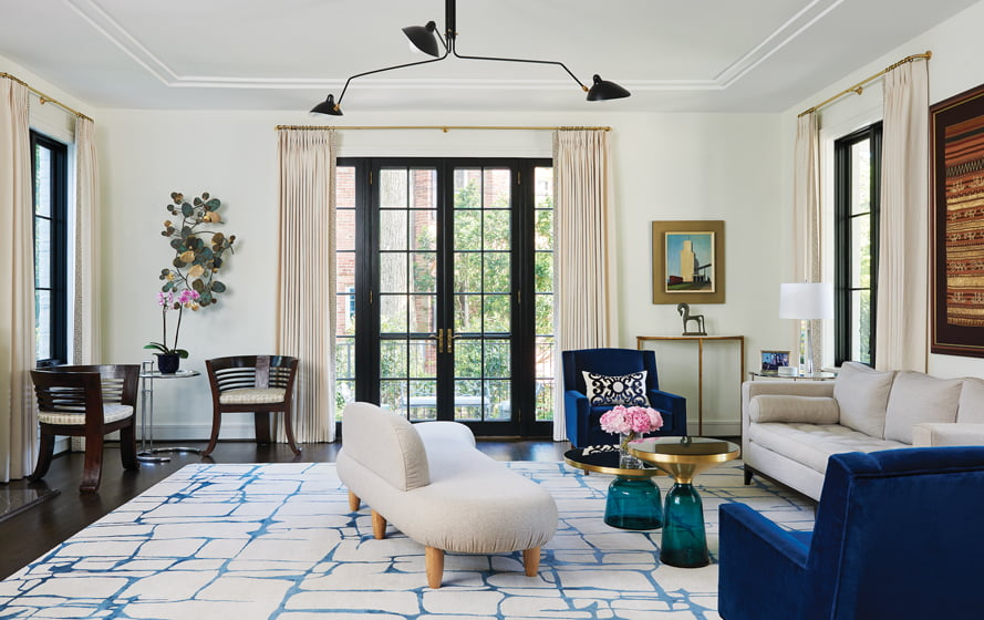 Working with GTM Architects, Ebert reimagined her family's 1933 Foxhall home, introducing streamlined luxury and a pared-down aesthetic.