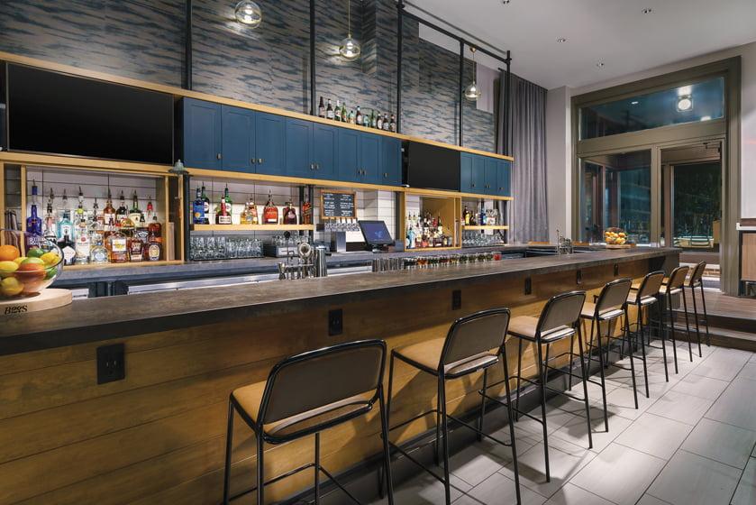 Kitchen on West St. boasts a sleek bar area.