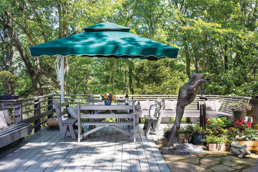 From the Parkers' rear deck, it's hard to discern where their property ends and the nature preserves begin.