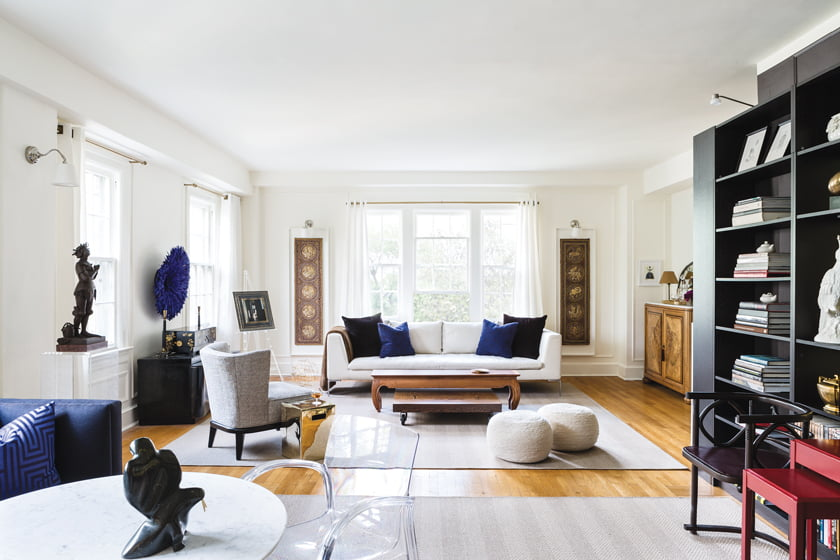 Rachel Dougan furnished the living room with a B&B Italia sofa and a Mitchell Gold + Bob Williams armchair.