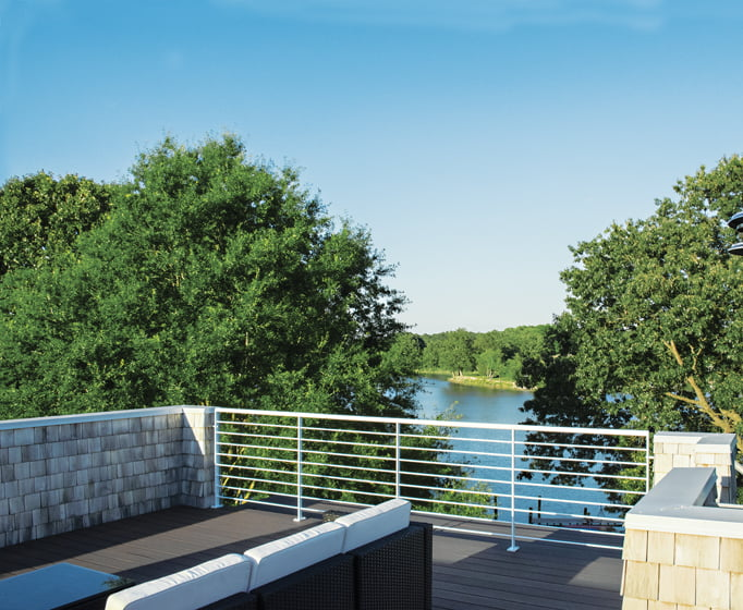 A roof deck lets the owners take advantage of the views.