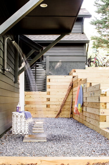 A handy outdoor shower leaves the kids shipshape after a day outdoors.