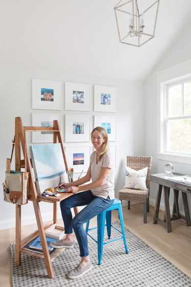 Sarah Hayes enjoys painting in her studio, part of the second-floor landing.