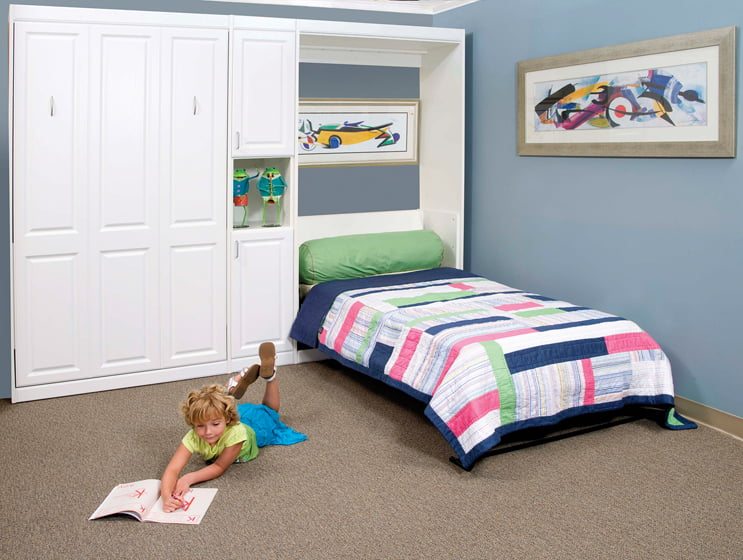 One bed folds away behind faux cabinetry.