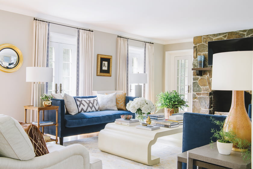 Lee Industries sofas flank a shagreen coffee table by Celerie Kemble in the living room.