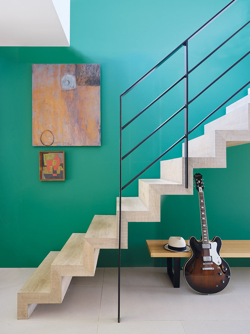 A room painted Verdigris Green.