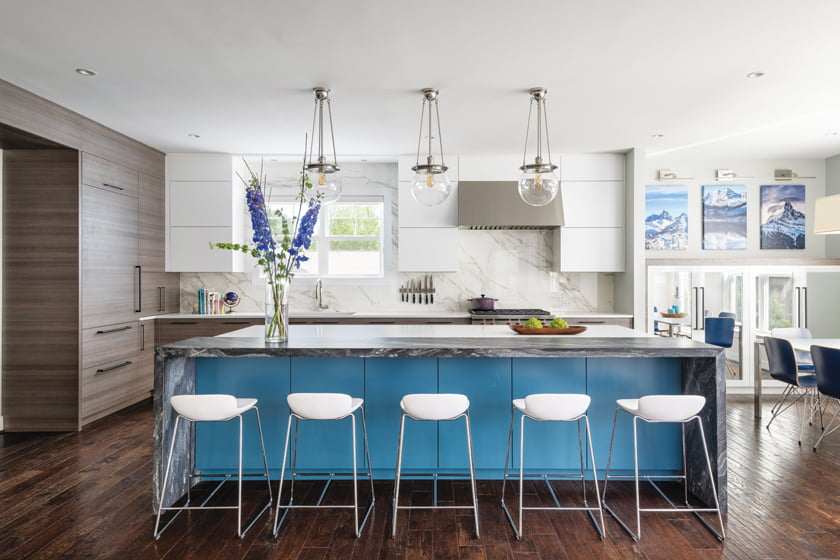 Meghan Browne of Jennifer Gilmer Kitchen & Bath helped an Arlington couple add pizazz to their staid kitchen.