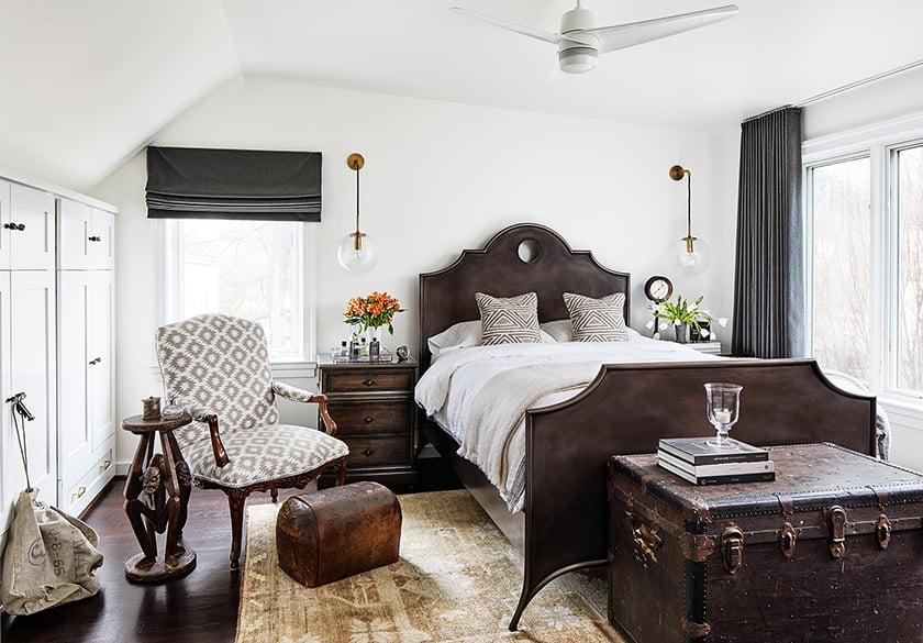 Upstairs, walls shifted to establish a more spacious master bedroom.