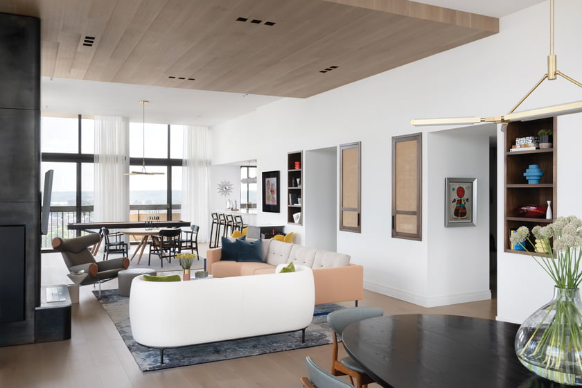 The open living area encompasses the dining room, lounge and entertainment area.
