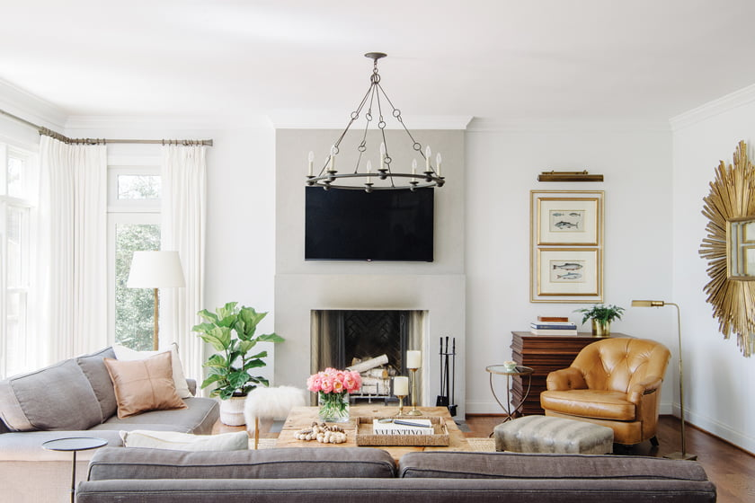 A stucco fireplace anchors the family room.
