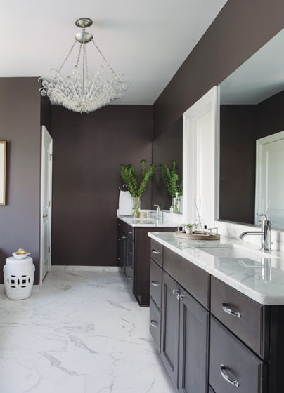 Dark walls create contrast between the master bath and adjoining white bedroom.