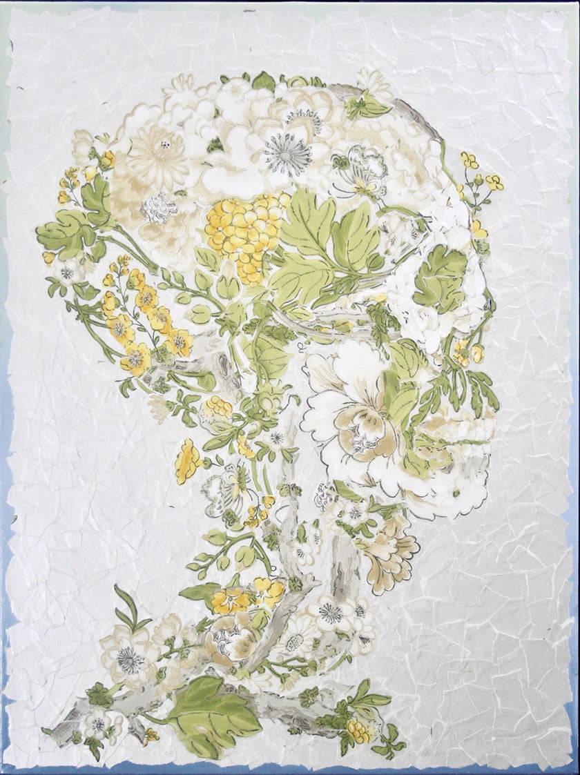 """The Florist,"" a whimsical floral-patterned skull."