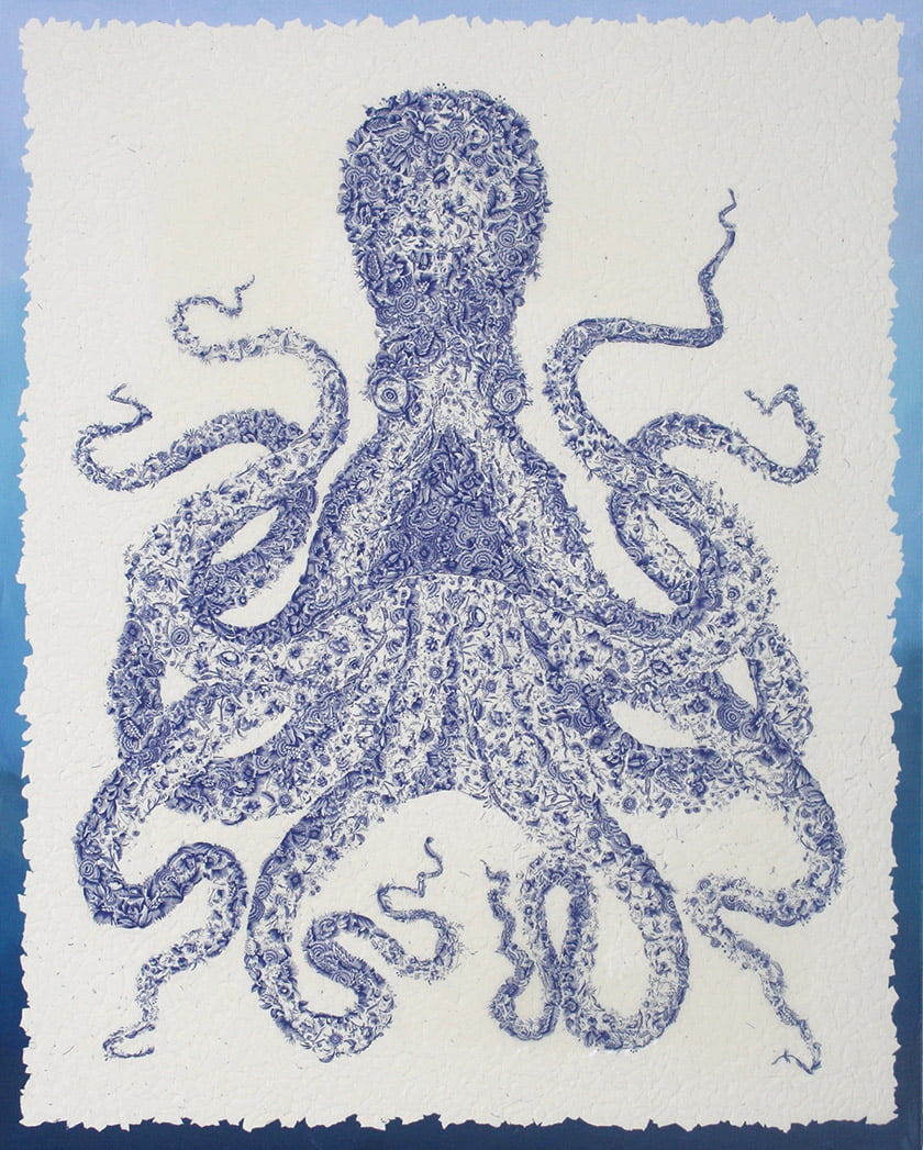 """Ursula,"" a blue-and-white octopus, was part of Norris' endangered-species series."