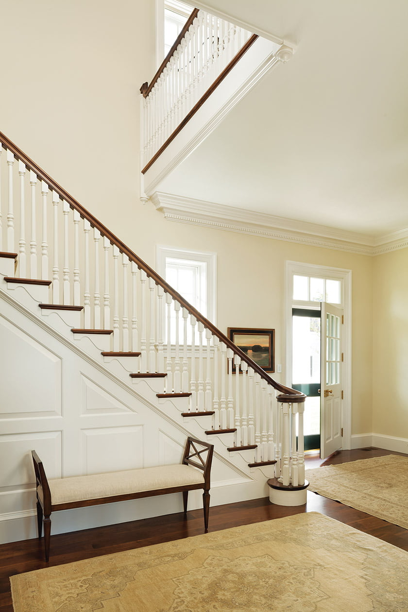 A graceful banister at the Eastern Shore estate. Photos by Gordon Beall