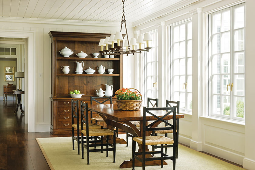 The project, a John Russell Pope Award-winner, showcases custom millwork, and shiplap details.