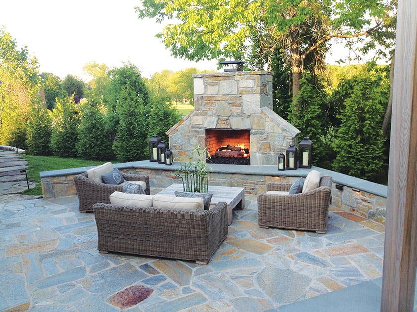 Live Green Landscape Associates' outdoor fireplace. © Roger Foley