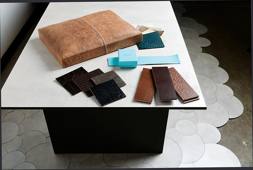 Swatches show a range of recycled-leather colors and textures.