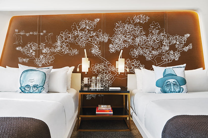 EcoDomo created custom, hand-stitched headboards with a cherry-blosoom motif for guest rooms at the W Washington DC.