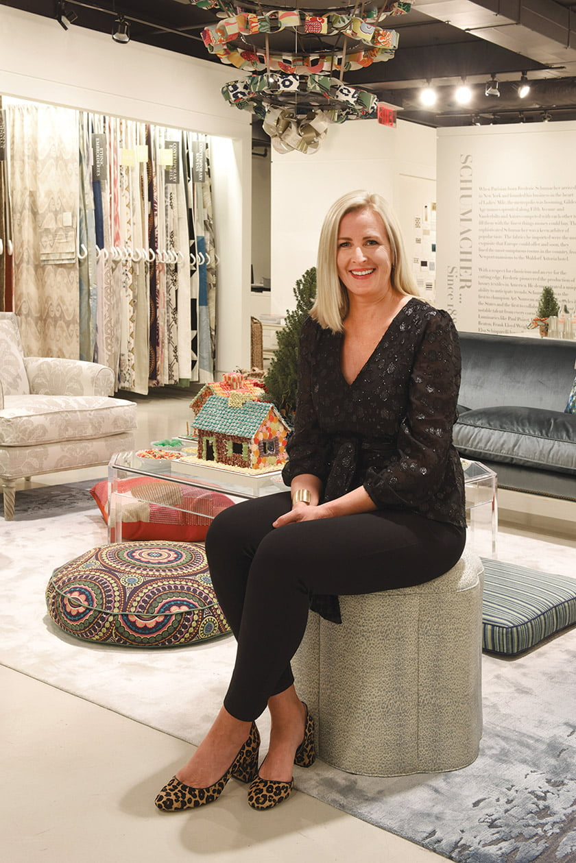 Tracey Morris of Gillis Interiors dreamed up a wintry display in Schumacher.