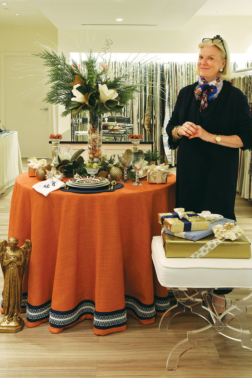 Kelley Proxmire fashioned a colorful tablescape in Scalamandré.