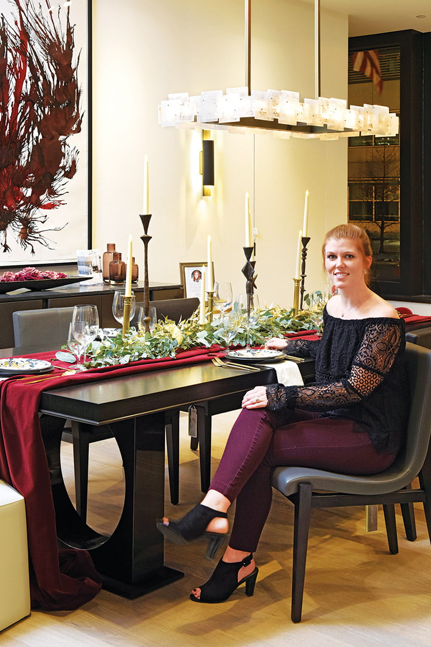 Laura Fox designed a festive table in Holly Hunt.