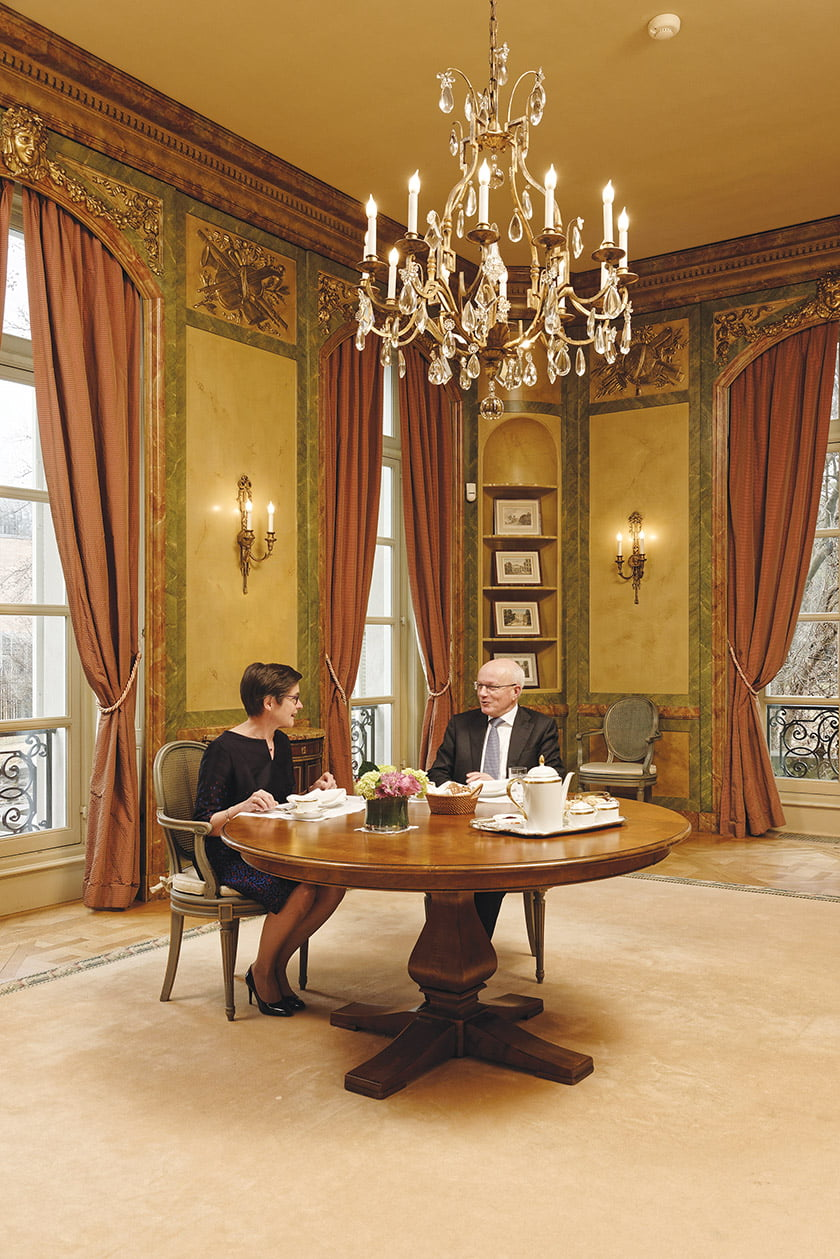 A small room in faux marble hosts intimate events; it is Wouters and Van Bragt's favorite breakfast spot.