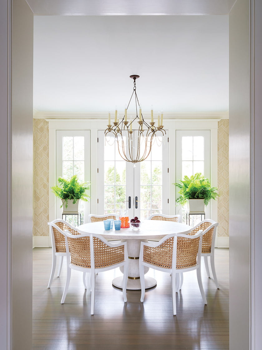 The breakfast room features a table by Mr. Brown London.