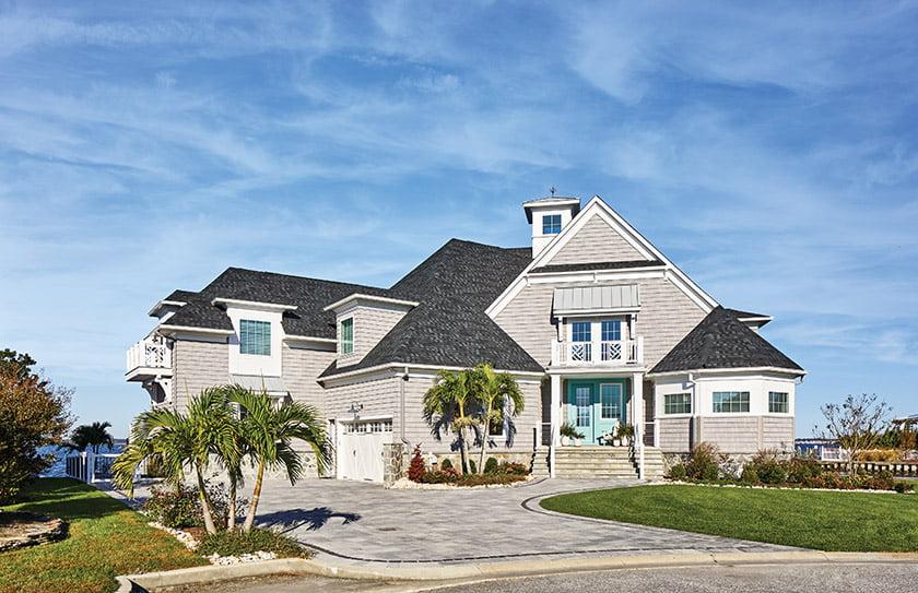 The renovated house conveys a beachy feel.