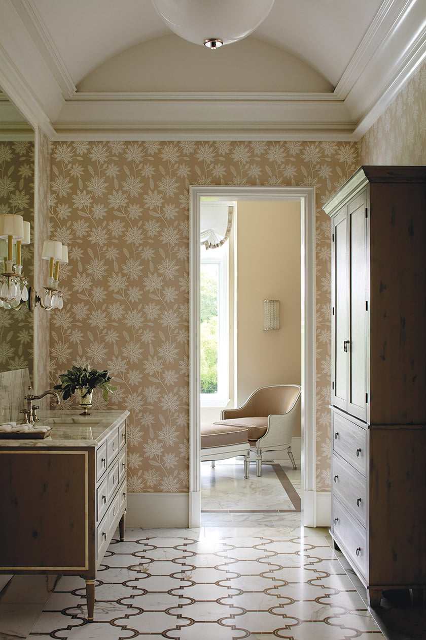 The master bath encompasses two rooms.