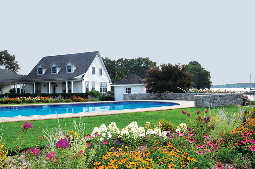 Native plantings surround the swimming pool and guest house; McHale installed a travertine patio around the pool.