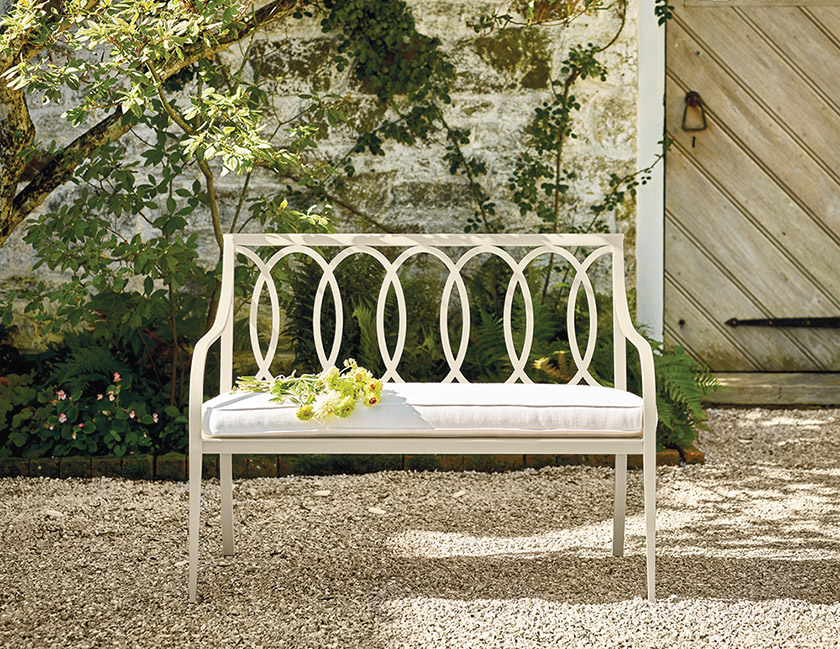 Like all of the company's furniture, the  Virginia Bench is made of resilient, hand-welded aluminum.