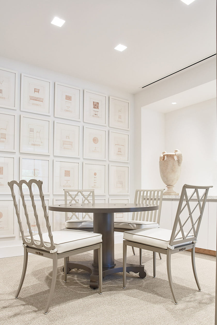 A vignette showcases four chair designs and an Albemarle Dining Table.