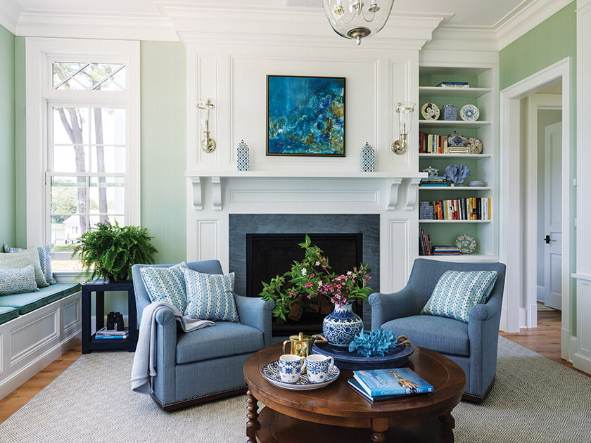 Accent pillows in Dove Stripe from Marika Meyer Textiles grace swivel chairs in the library.