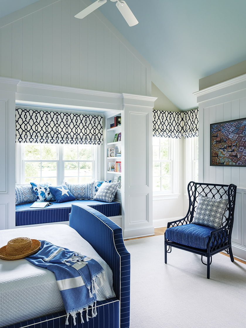 The daughter's bedroom features a Lee Industries bed covered in a sporty Kravet stripe.