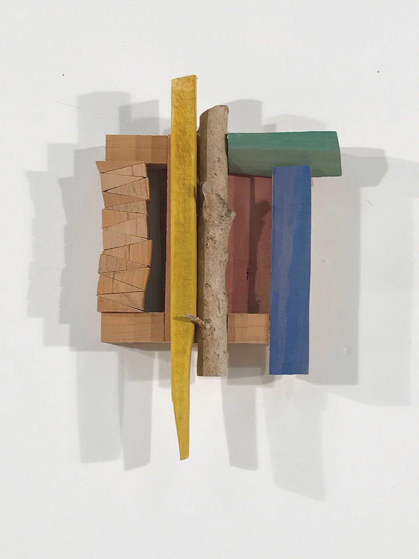 """Betula"" is a 12-by-nine-inch mixed-wood wall piece."