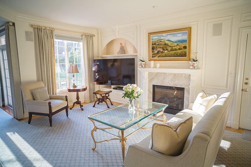 Custom millwork enhances the living room.