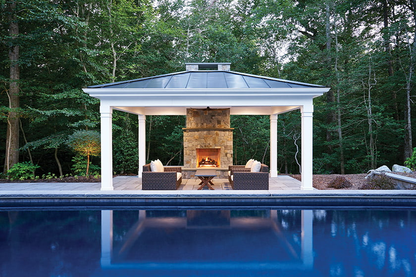 A pavilion by Colao & Peter Luxury Outdoor Living. Photo: Curt Pulleyblank