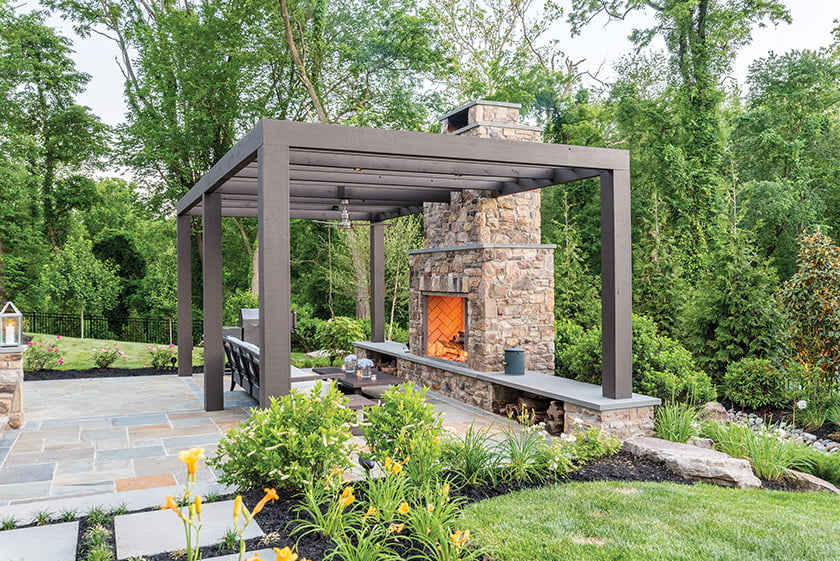 Joseph Richardson Landscape Architecture created a painted-cedar pergola. Photo: FJP Photography