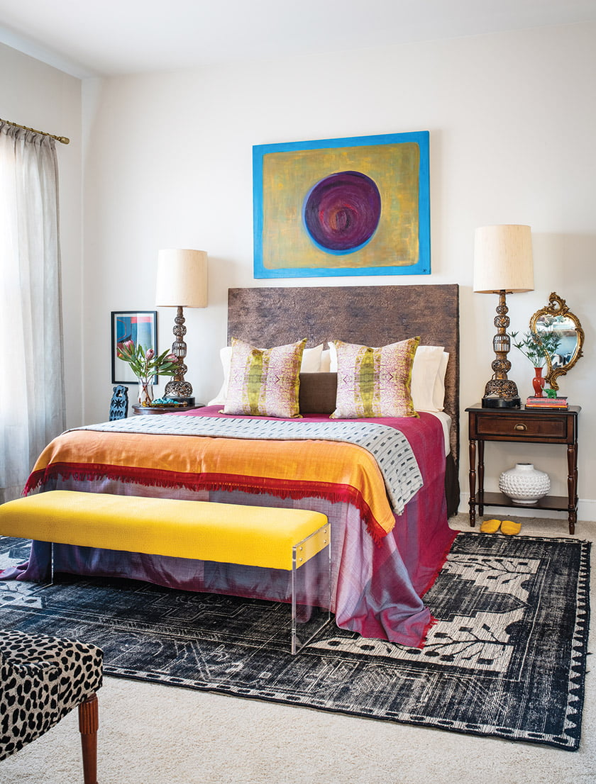 Kiyonda Powell's own abstract artworks add vitality and interest to her home—including the bedroom.
