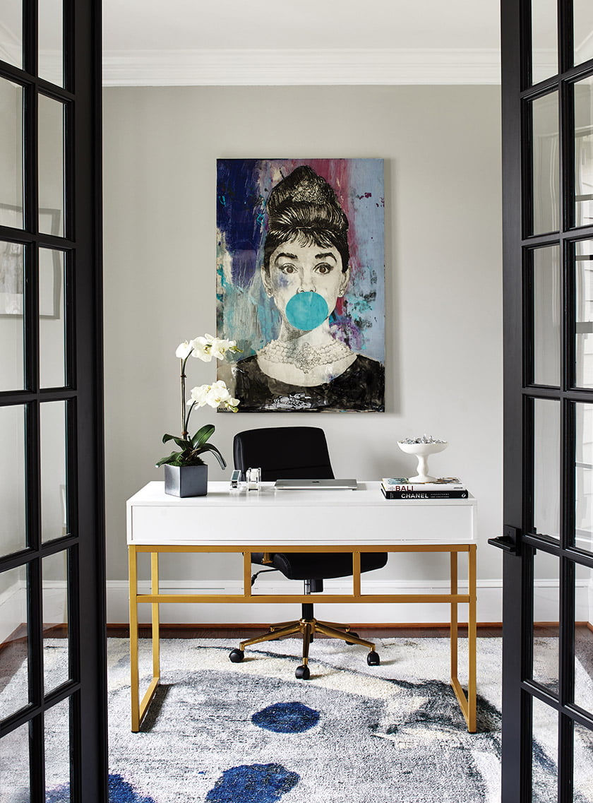 The formal dining room was transformed into a chic home office.