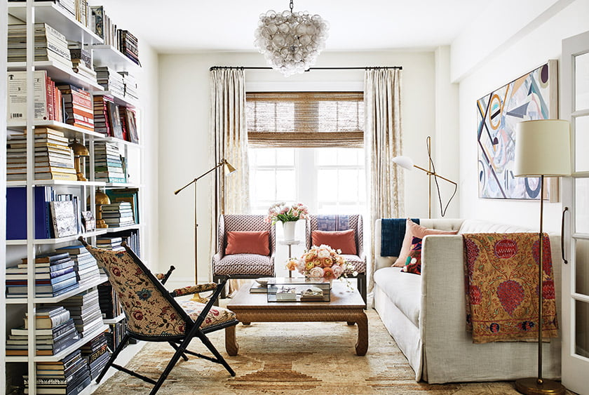 In Colgan's own living room, she combined a Lee Industries sofa, Casamidy chairs and an Asian-inspired Dennis & Leen coffee table.