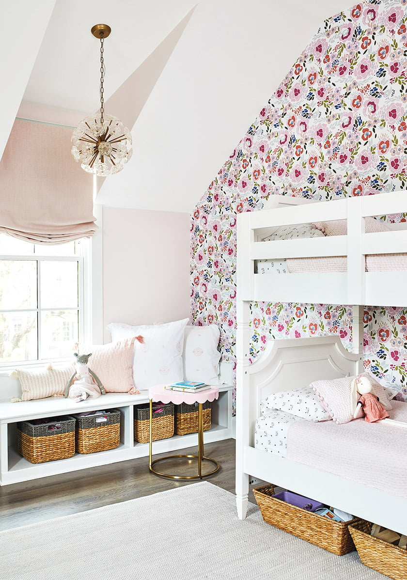The daughter, now 10, enjoys a bedroom in the addition with built-ins.