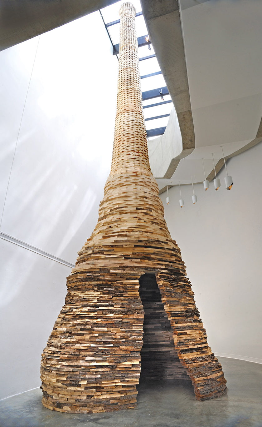 "Sham's 2017 solo show at the Katzen Arts Center featured ""Escape Tower,"" a 36-foot-high assemblage of mixed hardwoods."