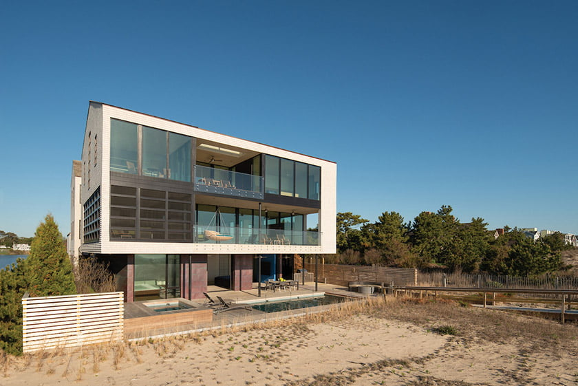 The Rehoboth Beach home, made of steel and glass, is built to withstand the elements. Photo: John Cole