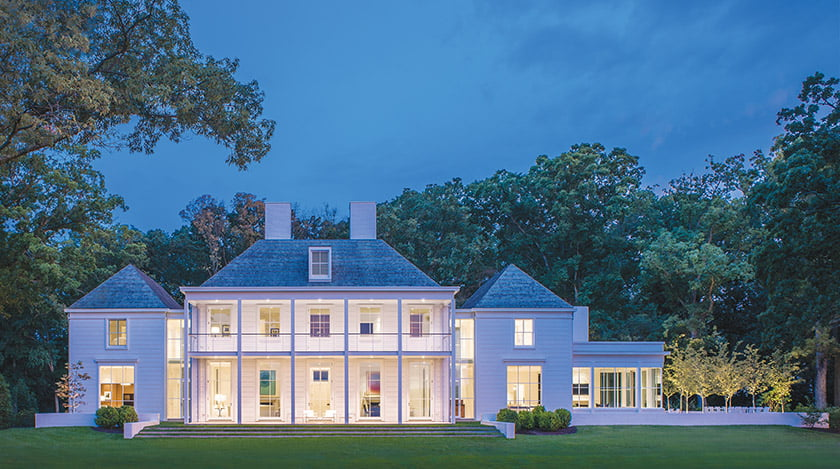 Located in Oxford, Maryland, a property designed by Jones & Boer Architects and built by Horizon Builders is a modern riff on a manor house. Photo: Maxwell MacKenzie
