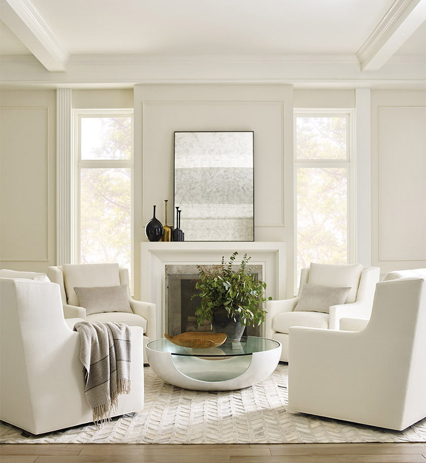 The Gigi Skirted Full Swivel Chair from Mitchell Gold + Bob Williams.